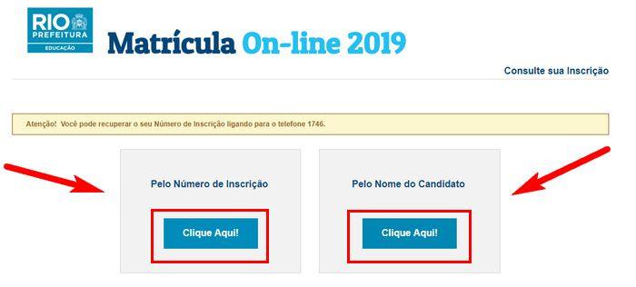 Consultar Inscrição Matrícula Rio 2021